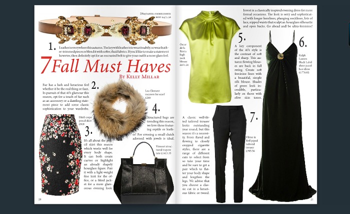 Magazine page: 7 Fall must haves