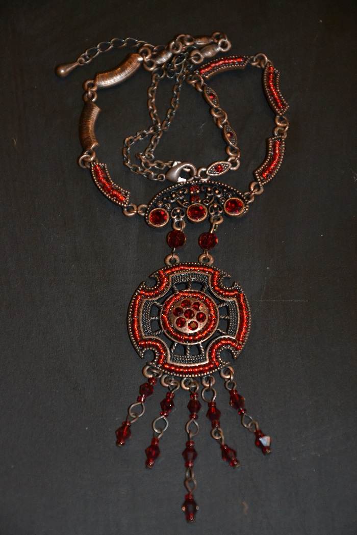 sparkly red bib necklace