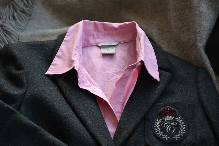 gray blazer with pink blouse