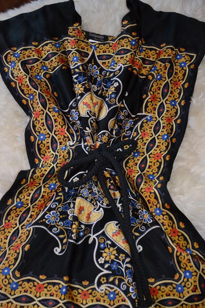 Yellow and black print silk top