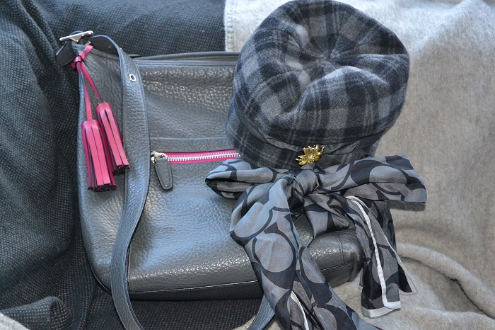 gray bag, hat and scarf