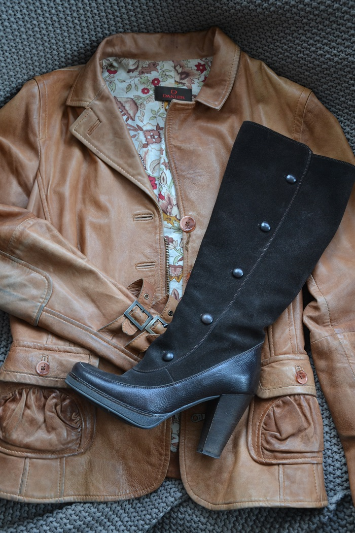 brown boot, jacket